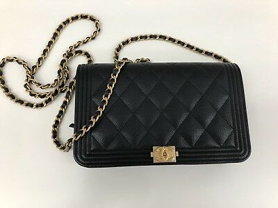 1cac124b84af Stunning CHANEL Le BOY Caviar Leather Wallet On Chain WOC Matte Gold  Hardware
