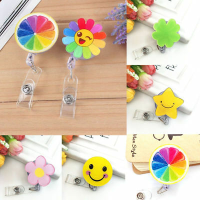 Retractable Mini Cute Smile Flower Badge Reel Pull Key ID Name Card Badge Holder