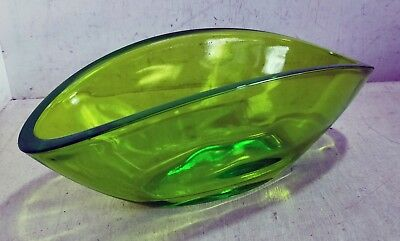 Bright Lime Green Heavy Glass Squat Oval Vase or Planter (8317)