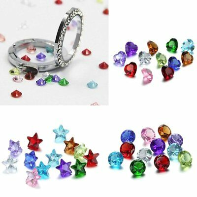100PCS Wholesale Multi 5mm Heart Round Birthstones Charms for Floating Locket