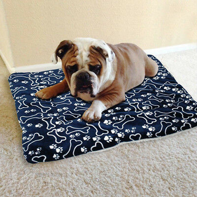 Pet Mat Bone Print Cat Dog Puppy Fleece Winter Warm Soft Blanket Bed Cushion