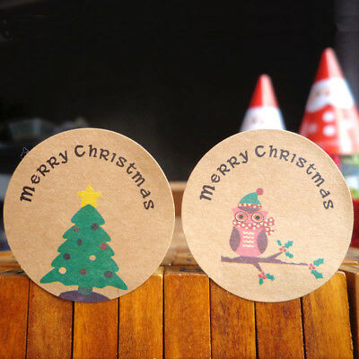 120pcs Merry Christmas Owl Paper Sealing Stickers Xmas Tree DIY Gifts Labels