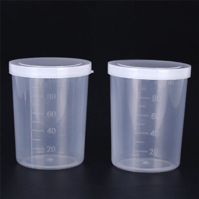 Plastic graduated laboratory bottle test measuring 100ml container cups with cap
