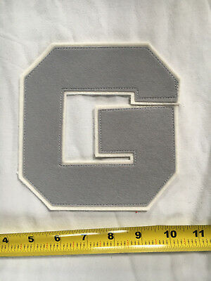 NEW Vintage G Block Letter Embroidered Letterman Grey Gray Patch NOS