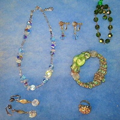VINTAGE ESTATE ANTIQUE JEWELRY NECKLACE EARRINGS BRACELETS RING crystal SET