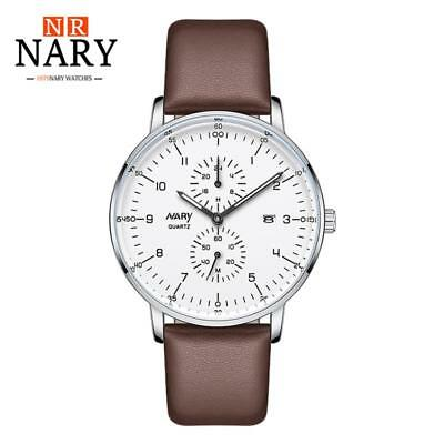 NARY Waterproof Casual Men Watch Round Dial Quartz Leather Strap Date Wristwatch