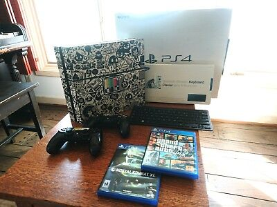 PS4, custom skin, 2 controllers, wireless keyboard, games, all cables and boxes!