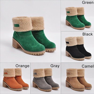 dc7c31ee5d0 US Women Snow Boot Warm Winter Pull On Suede Shoes Square Heel Solid Ankle  Boots