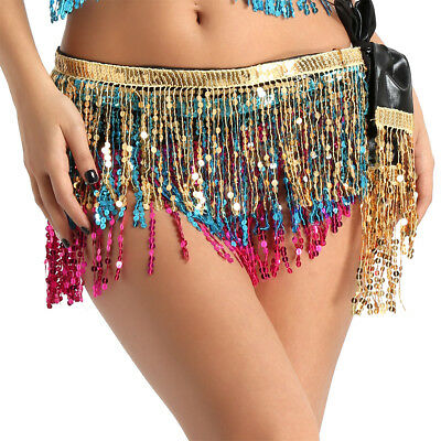Women Wrap Tassel Fringe Skirt Sequin Shiny Party Dress Belly Dance Clubwear