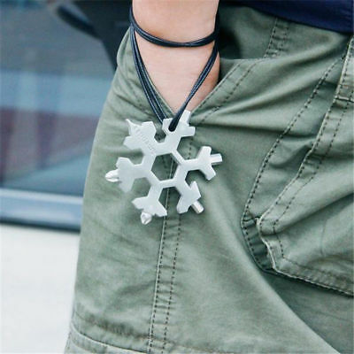 18-in-1 Multi-tool Combination Compact Portable Outdoor Snowflake Tool Card CA