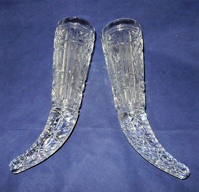 Antique Pair of Clear Cut Pressed Glass Epergne Vases