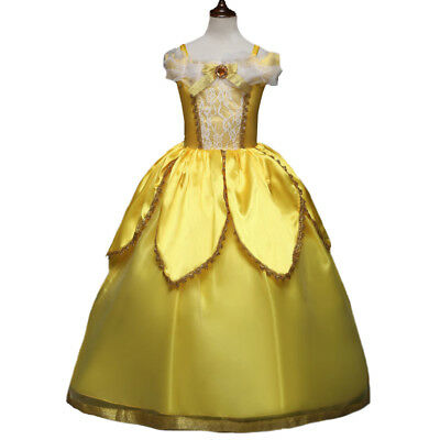 Kids Girls Princess Belle Beauty and the Beast Cosplay Costume Fancy Party Dress