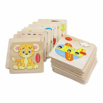Wooden Animal Fruit Puzzle Baby Toddlers Preschool Educational Kids Toy Gifts ZD