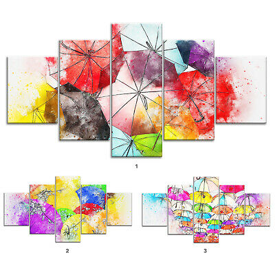 Abstract Colored Umbrellas Canvas Print Painting Framed Home Decor Wall Art 5Pcs
