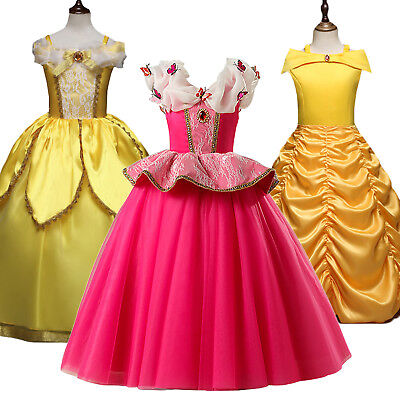 Beauty and the Beast Belle Aurora Princess Dress Kids Girl Cosplay Party Costume