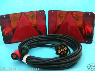2 x Radex 5800 5 Pin Plug In Trailer Lamps with 8 metre Wiring Loom Harness