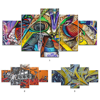 Abstract Graffiti Canvas Print Painting Framed Home Decor Wall Art Poster 5Pcs