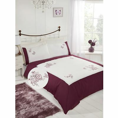 Steeplechase Manor Floral Embroidered Duvet Set Unisex Cover