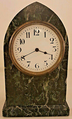 Antique 19th C. French Victorian Green Onyx Marble Gothic Beehive Mantel Clock