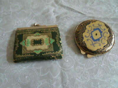 Vintage Florentine Leather Green, Gold, Blue  Embossed Coin Kiss Purse & compact