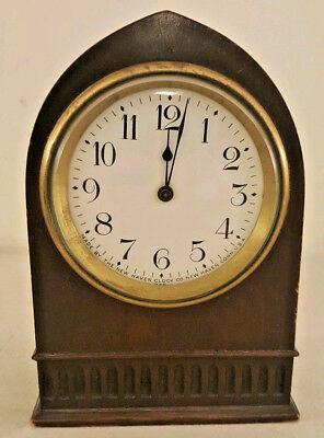 Antique Working 19th C. New Haven Clock Co. Mahogany Gothic Beehive Mantel Clock