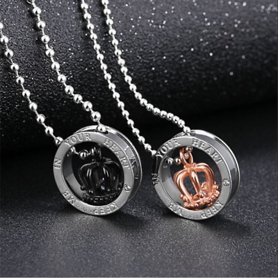 Couple Pendant Necklace Stainless Steel Crown Love Heart His & Hers Couples Gift
