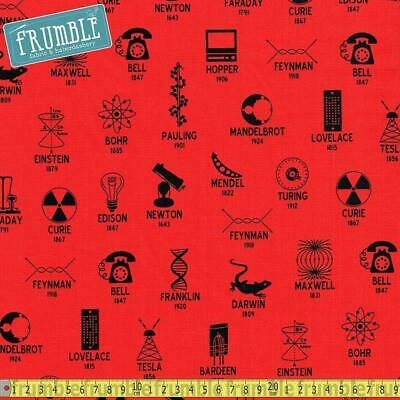 Robert Kaufman Fabric Science Fair 2 Scientists And Symbols Red HALF METRE