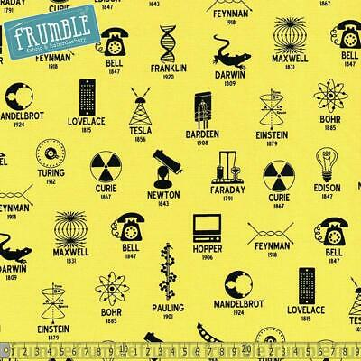 Robert Kaufman Fabric Science Fair 2 Scientists And Symbols Yellow HALF METRE