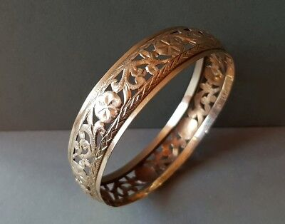 RARE ANTIQUE jewelry Ottoman Armenian GOLD HAND openwork lace forged Bracelet