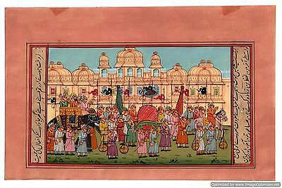 Mughal Procession Miniature Indian Painting Illustration Watercolor Hand Painted