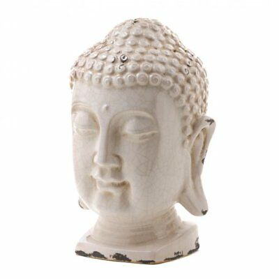 Crackle Glazed White Buddha Head Statue (Accent Plus)