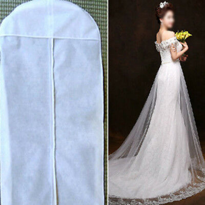 Long White Dustproof Wedding Dress Bridal Gown Clothes Storage Zip Bag Cover