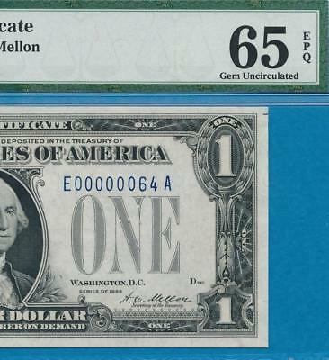 $1.00 1928  Funny Back  Low #64 Blue Seal Silver Certificate  Pmg Gem New 65Epq