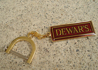 Dewars White Label Keychain HEAVY Gold Chain and Red Metal FANCY Clasp