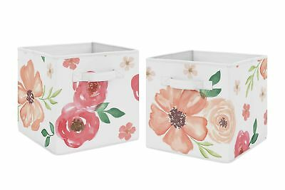 Peach Green Watercolor Floral Foldable Fabric Storage Cube Bins Boxes - 2pc Set