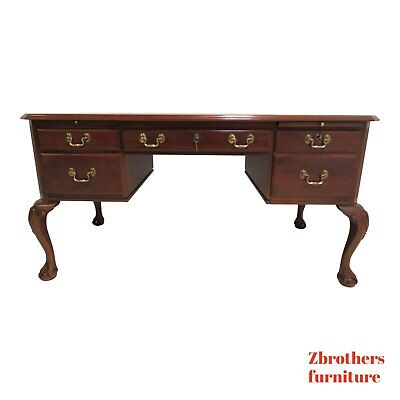 Ethan Allen Georgian Court Ball Claw Chippendale Executive Desk