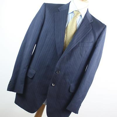 5cb1c5af5 HARDY AMIES MENS Blue Striped Wool Blend Single Breasted Suit 40/34  (Regular)