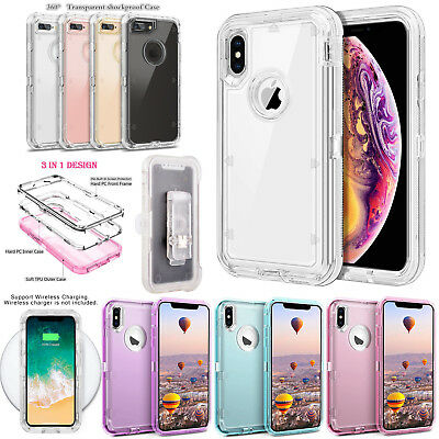 For iPhone XS Max XR 7 8P Heavy Duty Shockproof Defender Transparent Case w/Clip