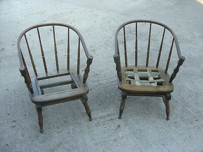 (2) Antique Windsor style Platform Rocking Chairs - need TLC - SEE & READ ALL