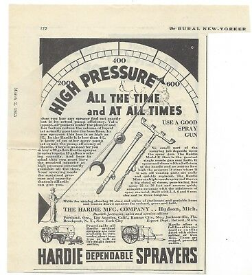 vtg 1930s era HARDIE DEPENDABLE SPRAYERS high pressure HUDSON MICHIGAN MI AD