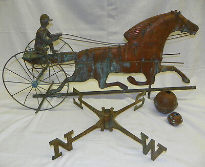 Antique Weathervane Trotting Horse Sulky Jockey Rider Copper Lightning Rod