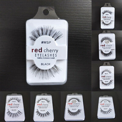 Fashion Makeup Thick False Eyelashes Red Cherry Natural Cross Eye Lash Extension