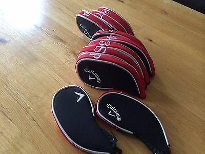 10 Callaway black red zip under superior golf club iron head covers HEADCOVERS