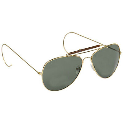 Mil-Tec Aviator Pilot Military Army Air Force Sunglasses with Case Green Lens
