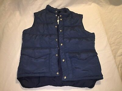 Vintage Rare Woolrich Blue Puffy Puffer Large Hunting Vest Down Filled 1970-80s
