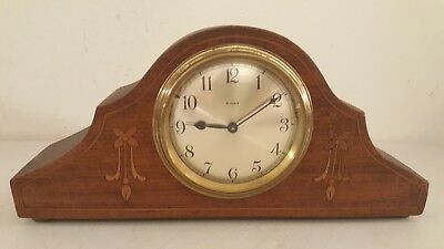 Antique Working French Victorian Inlaid Mini Mahogany Tambour Mantel Shelf Clock