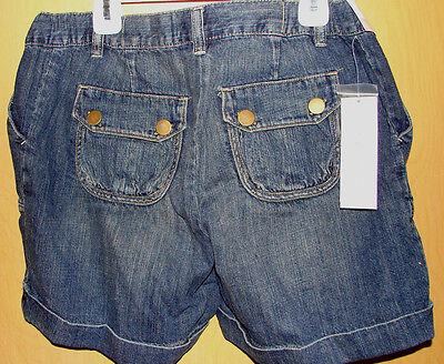 MATERNITY DENIM SHORTS (Misses S 4-6) Cuffed No Panel Cute Pockets NWT Liz Lange