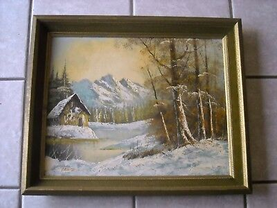 Vintage Framed original  Signed Oil Art Painting.Winter scene