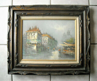 Vintage Framed original  Signed Oil Art Painting City scene