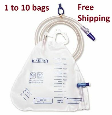 Medline Urinary Catheter Drainage Bag volume 2000ml 1 to 20 Bags FREE SHIPPING